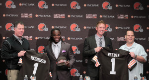 2012 Draft, From L to R: Browns head coach Pat Shurmur, 3rd overall pick RB Trent Richardson, 22nd overall pick QB Brandon Weeden, GM Tom Heckert. These men were all released or traded by March 2014. (PC: Cleveland.com)